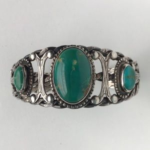 Vintage Sterling Turquoise Deco Cuff Bracelet